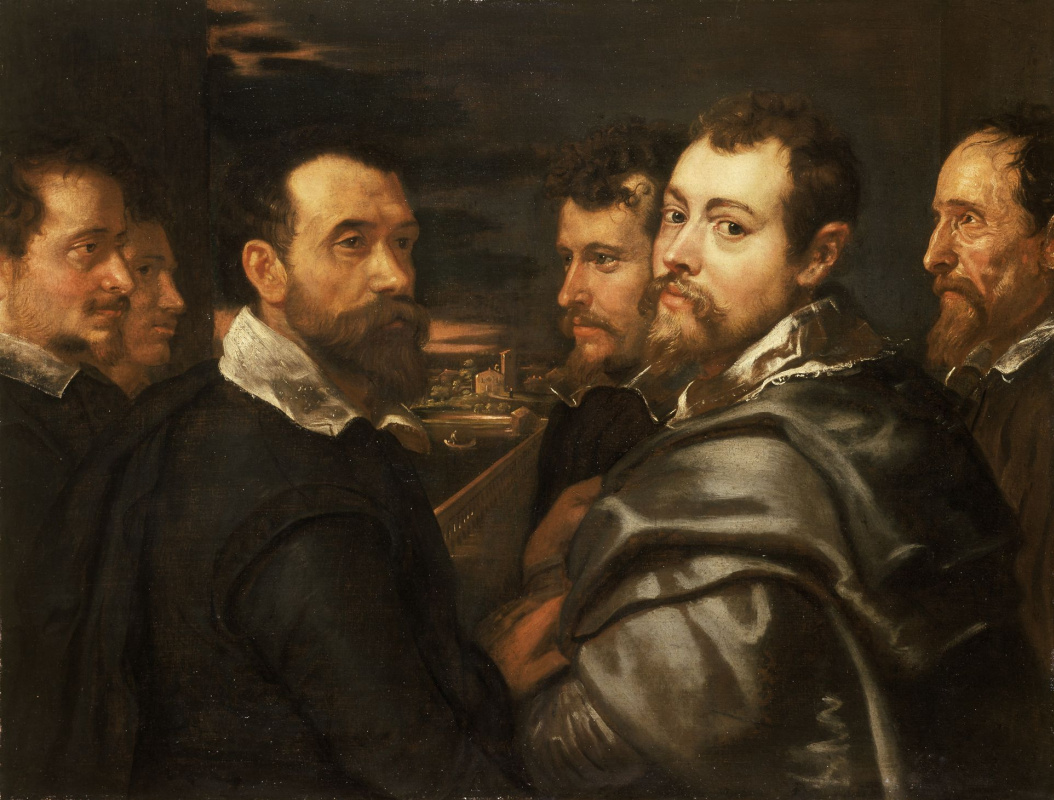 Peter Paul Rubens. Self-portrait in a circle of friends from Mantua