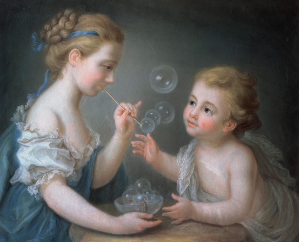 Jean-Etienne Liotard. Children blow soap bubbles