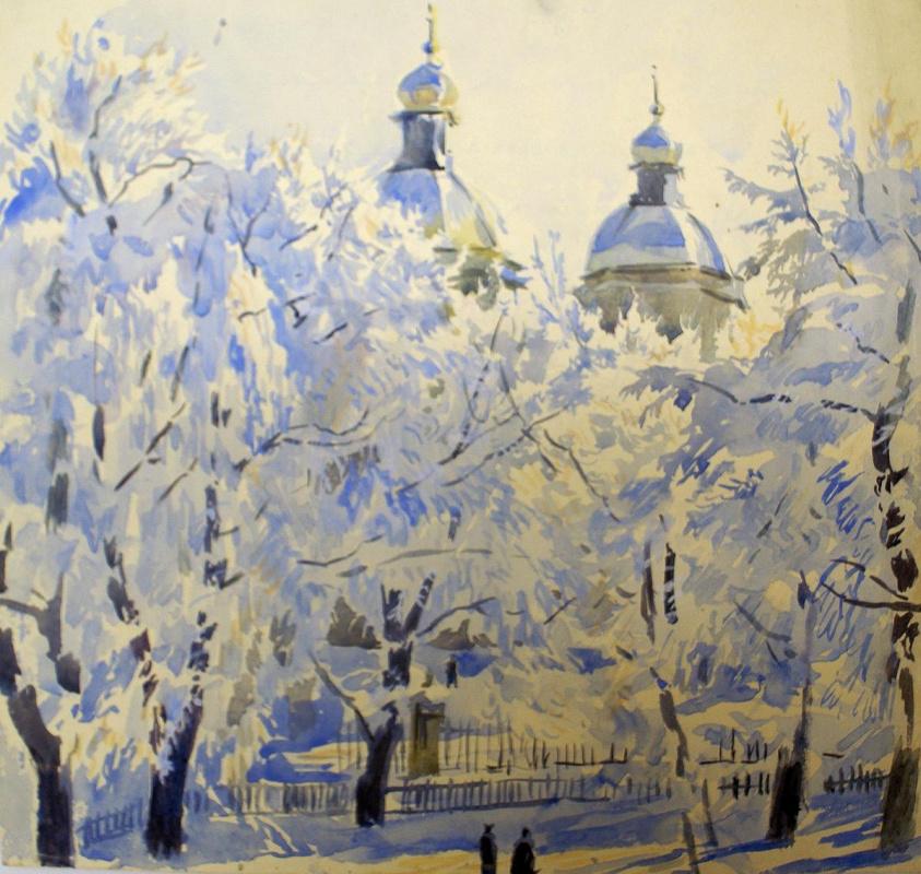 Александр Николаевич Бенуа. Никольский собор зимой. Вид из окна квартиры А.Н. Бенуа