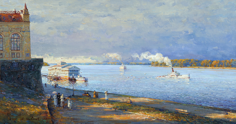 Alexander Victorovich Shevelyov. Evening on the waterfront in Rybinsk.Oil on canvas 45,2 # 84,5 cm, 2009