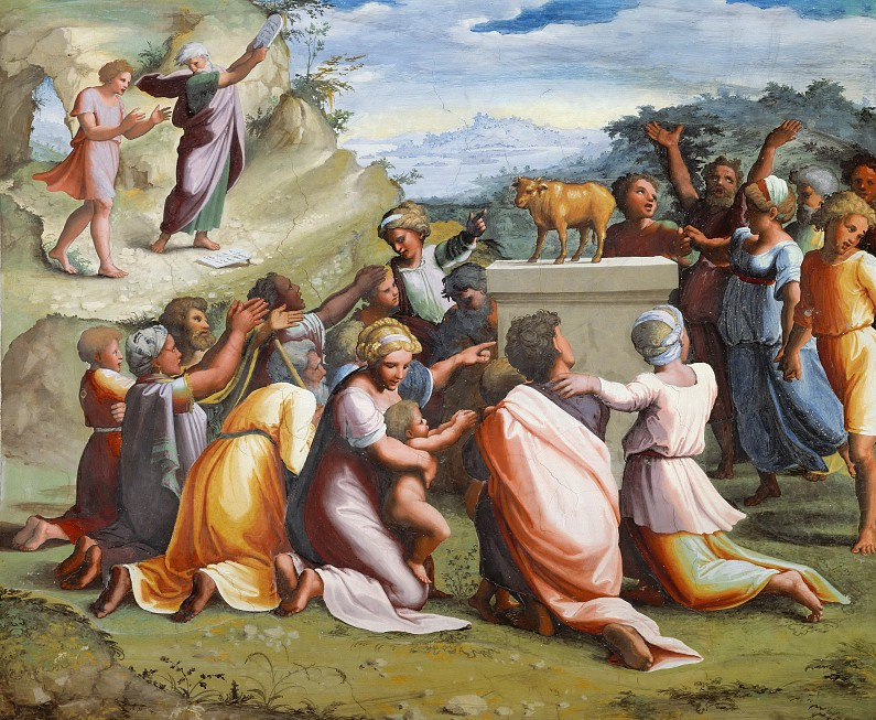 Raphael Sanzio. The worship of the Golden calf. The fresco of Raphael loggias of the Palace of the Pope in the Vatican