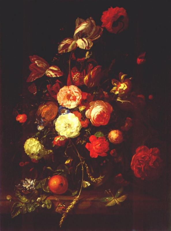 Рашель Рюйш. Натюрморт с цветами и апельсинами