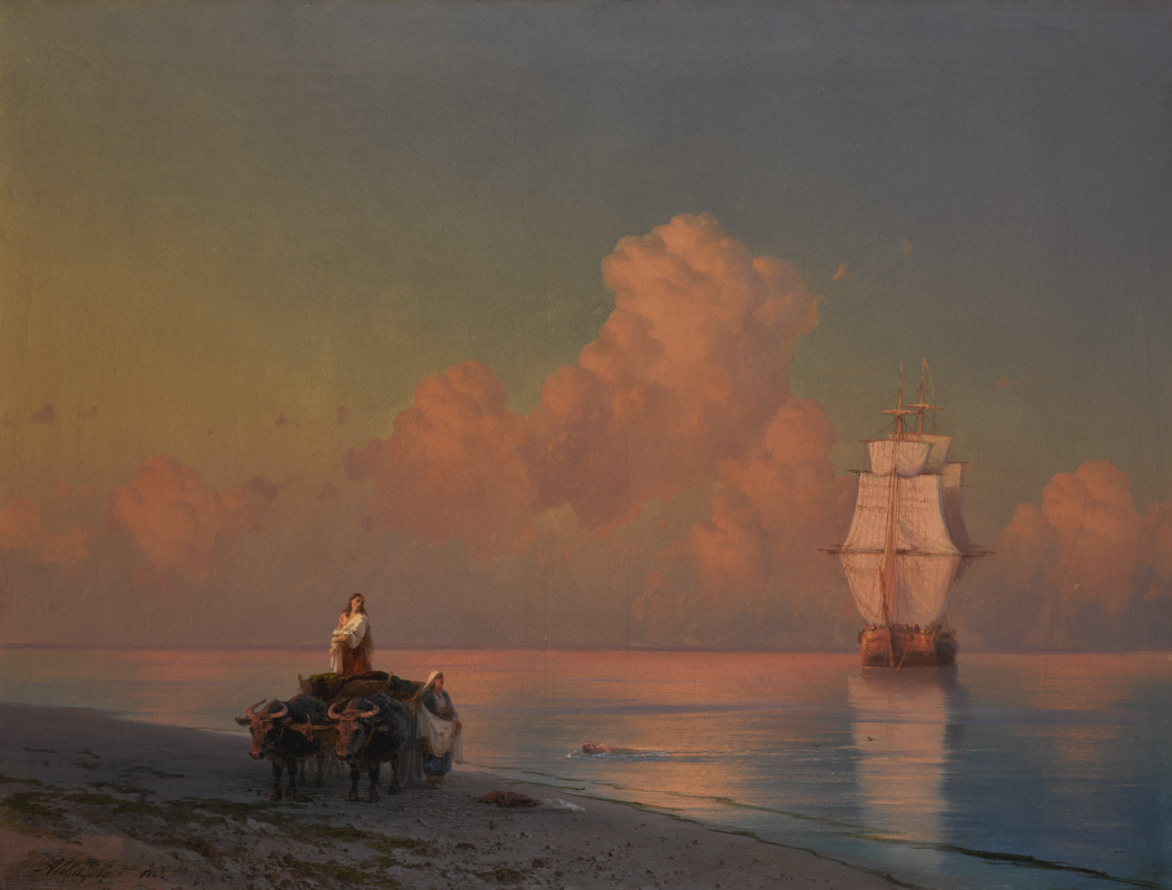 Ivan Aivazovsky. An oxcart and a swimmer in shallow waters