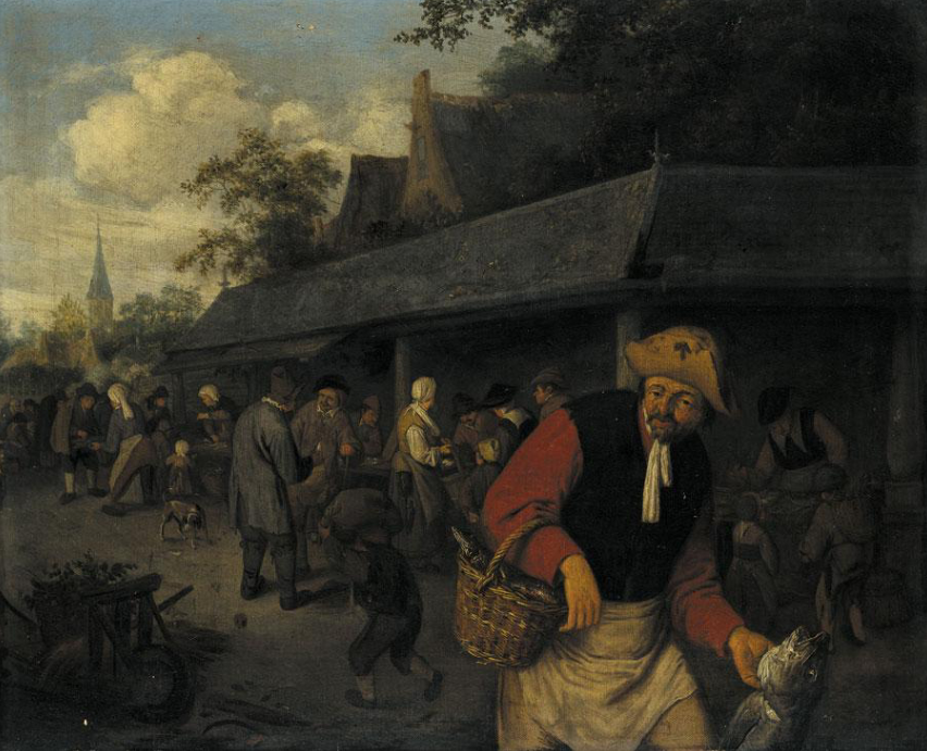 Adrian Jans van Ostade. Peasant with a fish on the background of the market