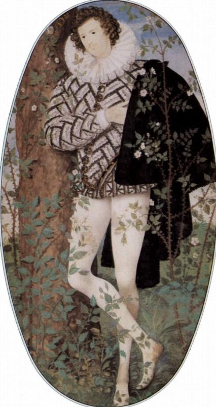 Николас Хильярд. Юноша в розах, овал