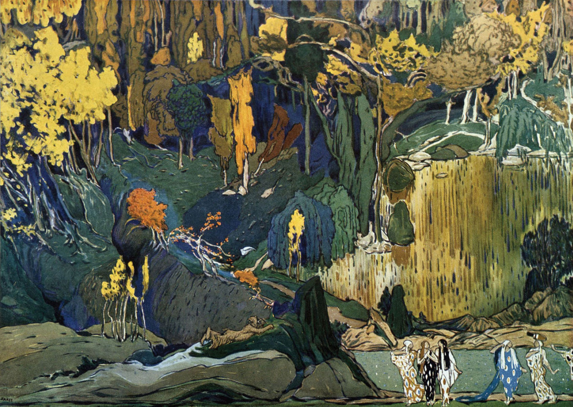 Lev (Leon) Bakst. L'après-midi d'un faune (The Afternoon of a Faun) ballet set design