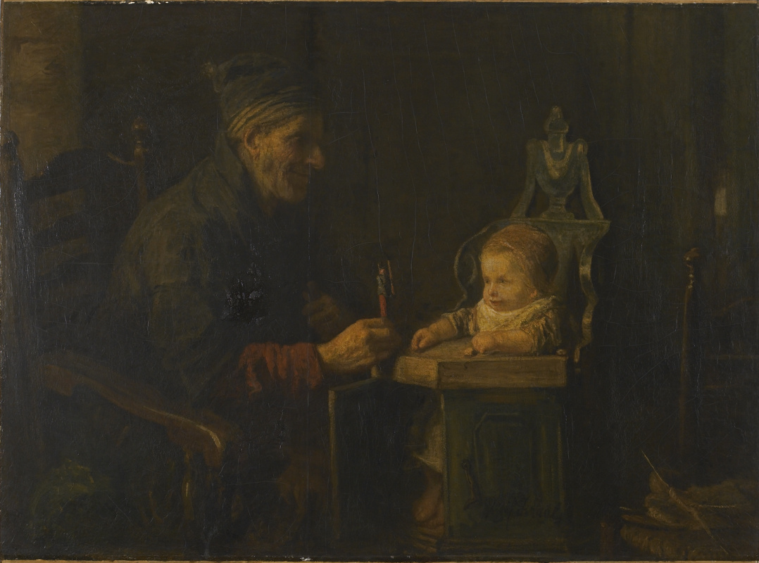 Joseph Israel. Old man and baby