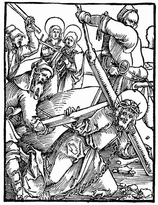 """Ханс Бальдунг. Иллюстрация к """"Зерцалу страстей Господа нашего Иисуса Христа"""" Ульриха Пиндера, Несение креста"""