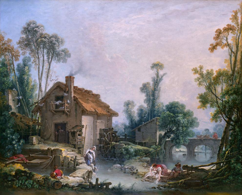 Франсуа Буше. Пейзаж с водяной мельницей