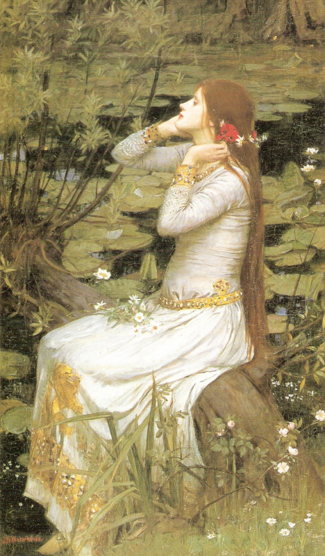 John William Waterhouse. Ophelia sitting by the pond