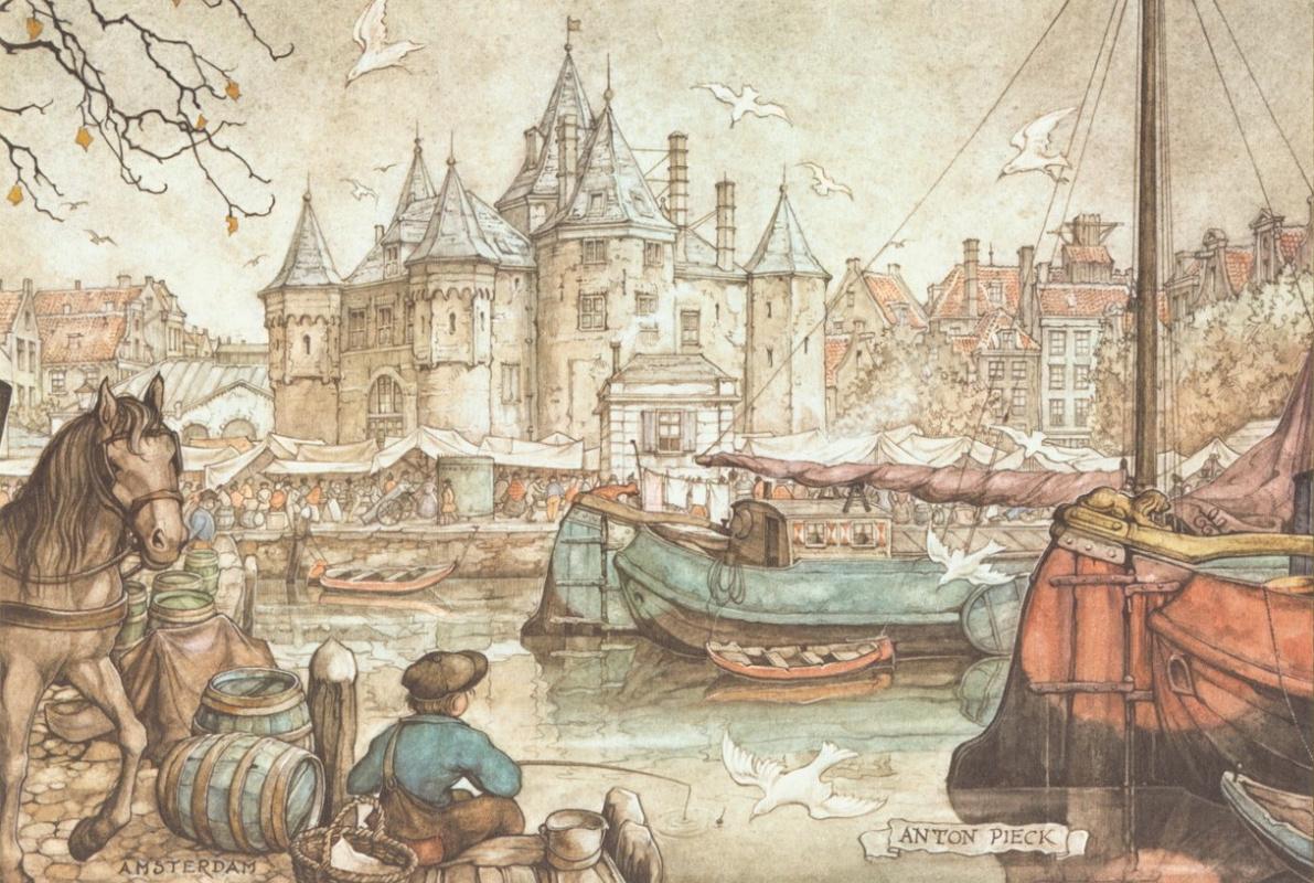 Anton Pieck. City scenes. Amsterdam