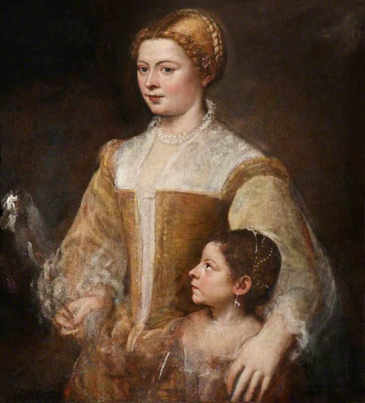 Тициан Вечеллио. Портрет благородной женщины с дочерью