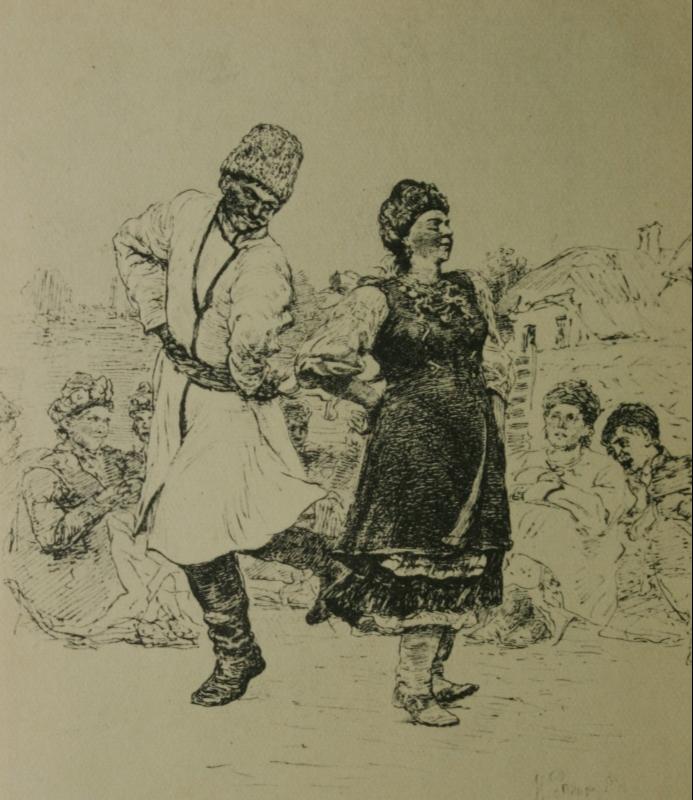 Ilya Efimovich Repin. Cossack. Lithography.