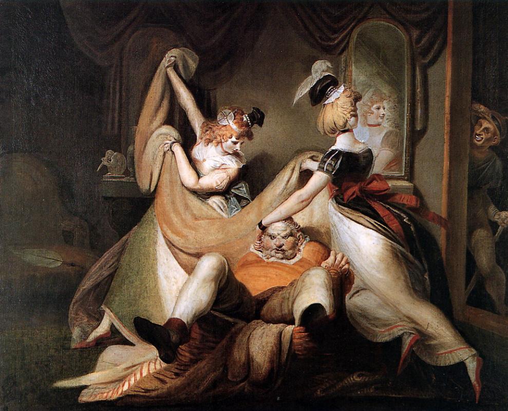 Johann Heinrich Fuessli. Falstaff in the bathroom