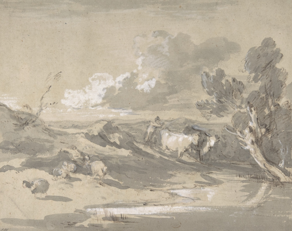 Thomas Gainsborough. Landscape with a herdsman, cows and sheep