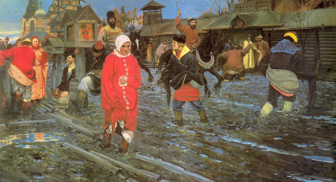 Андрей Петрович Рябушкин. Московская улица 17 века в праздничный день