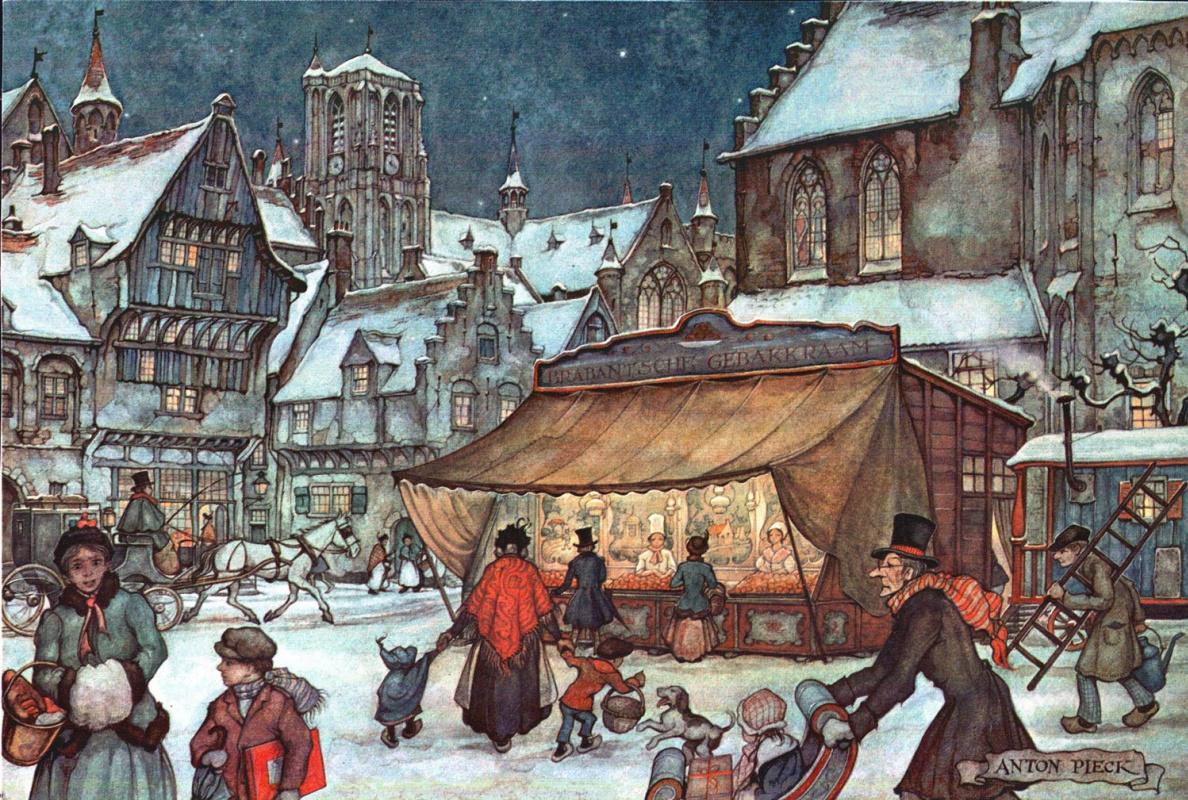 Anton Pieck. City scenes. Winter area