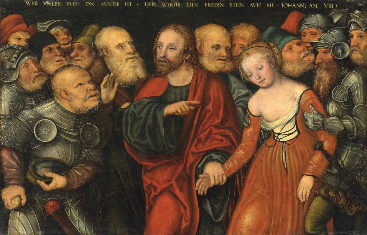 Лукас Кранах Младший. Христос и грешница. 1540-1550