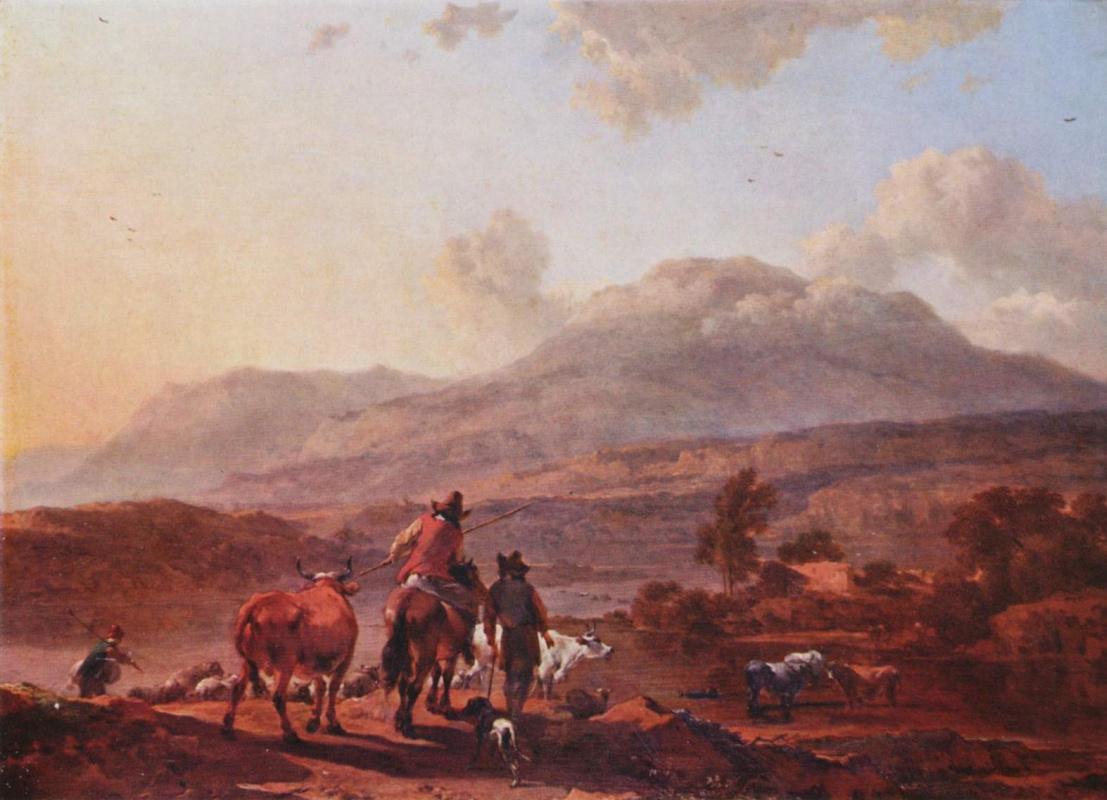 Николас Берхем. Итальянский пейзаж на закате