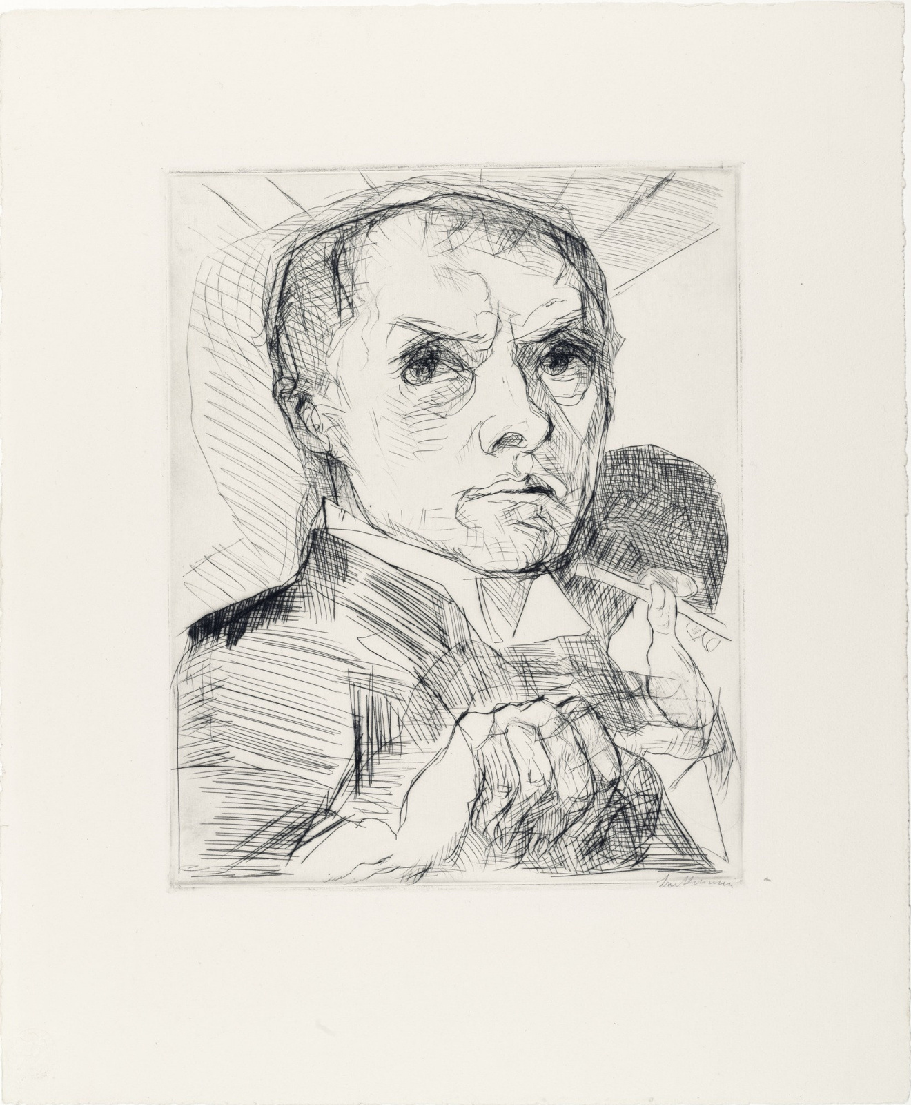 "Max Beckmann. Self-Portrait with Stylus (Plate 19 from the ""Faces"" Series)"