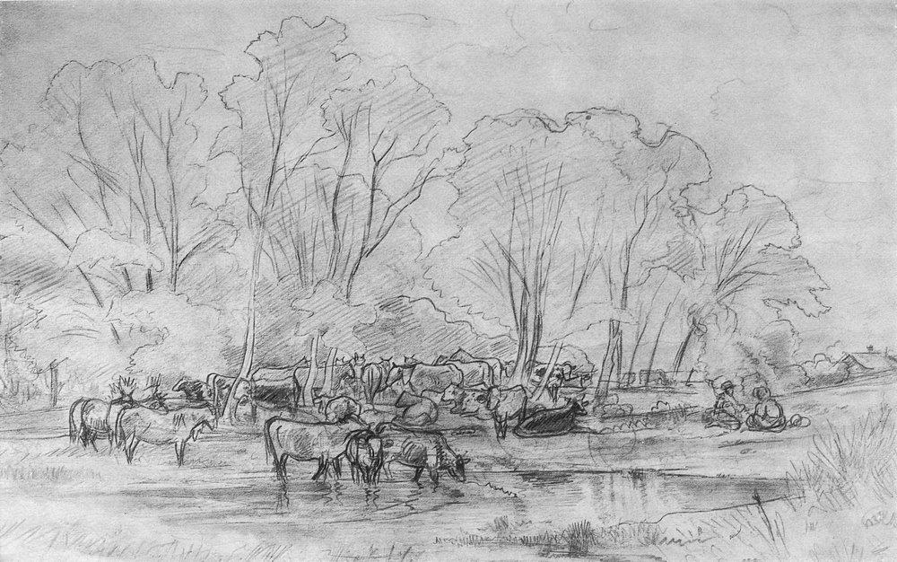 Ivan Shishkin. Flock near a stream