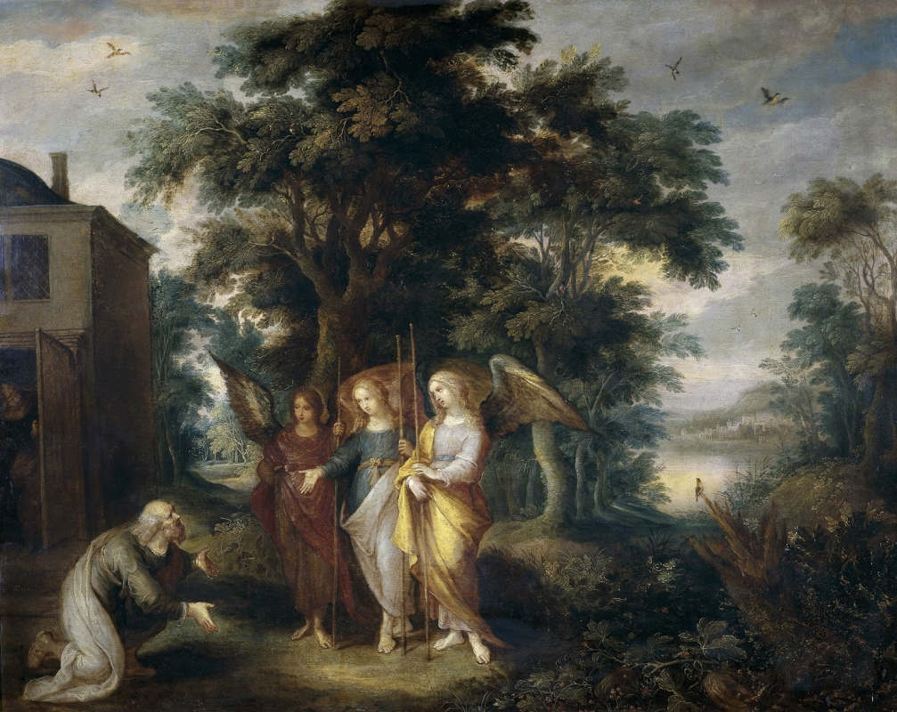 Frans Franken the Younger. Abraham and three angels in the form of wanderers.