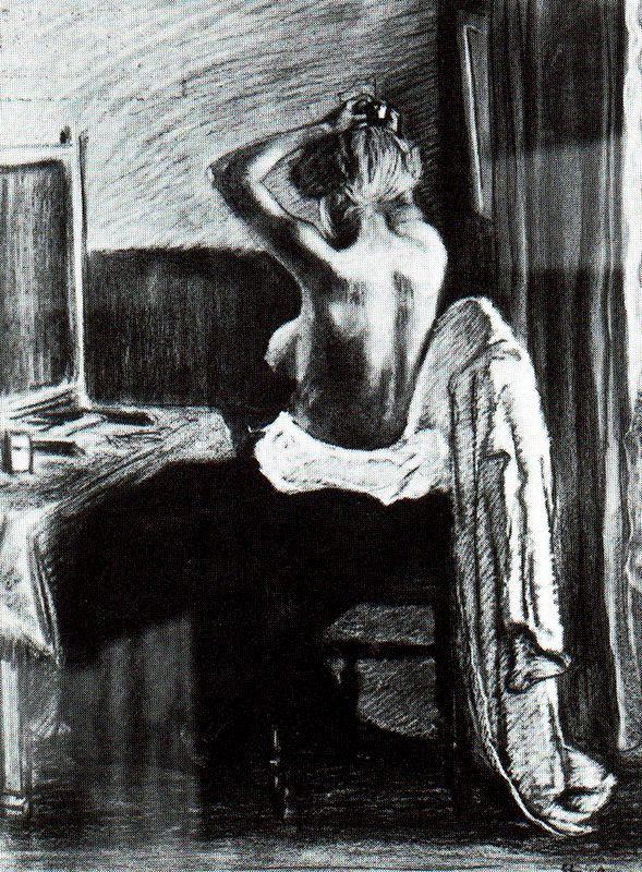 Теофиль-Александр Стейнлен. Девушка поднимает волосы