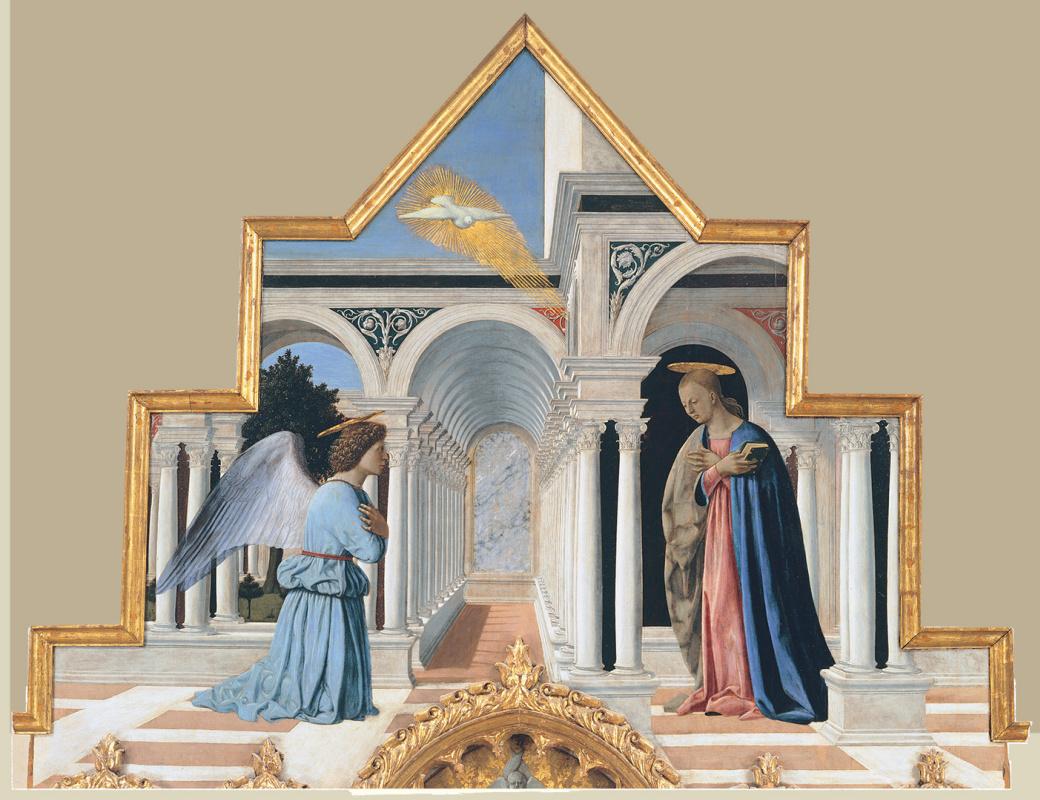 Пьеро делла Франческа. Благовещение. Полиптих Святого Антония. Верхняя часть