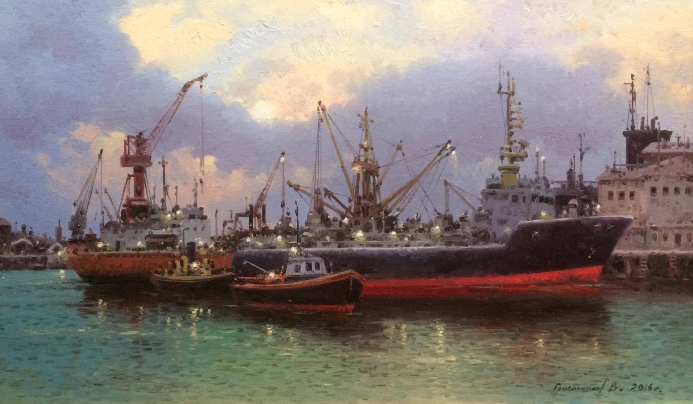 Vasily Ivanovich Gribennikov. Evening port