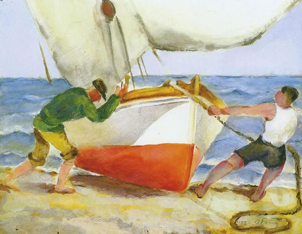 Александр Лукич Ротач. Вытаскивают лодку