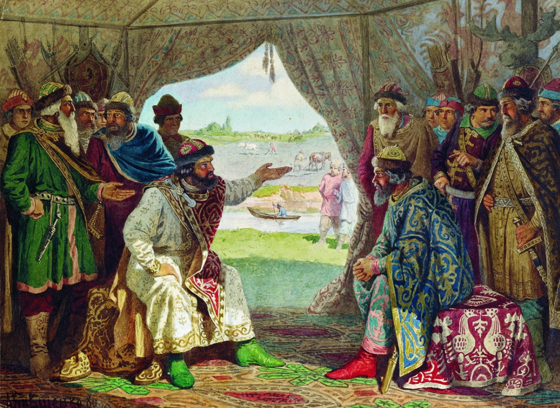 Alexey Danilovich Kivshenko Russia 1851-1895. Dolobs princes 'meeting - a meeting between Prince Vladimir Monomakh and Prince Svyatopolk. 1103 year. 1880