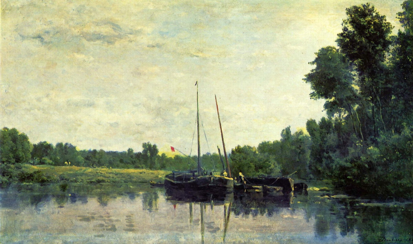 Charles-Francois Daubigny. Boats on the Oise
