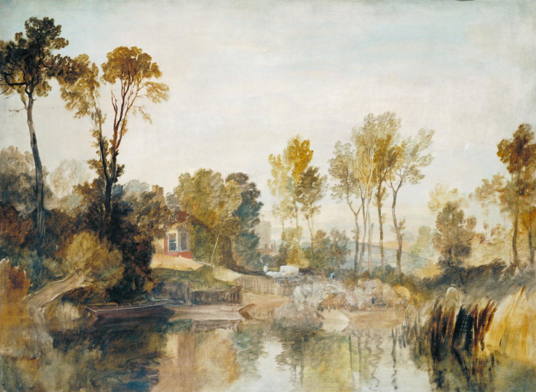 Joseph Mallord William Turner. House by the river with trees and sheep