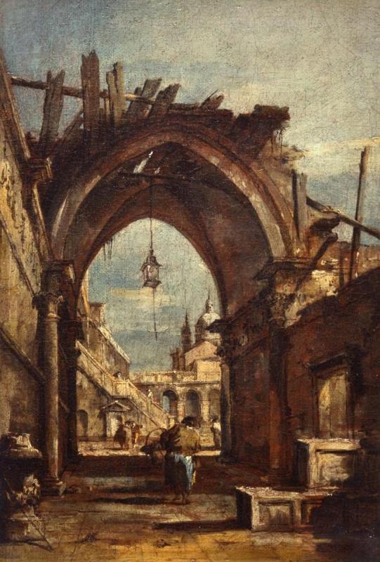 Архитектурная фантазия с разрушенной готической аркой