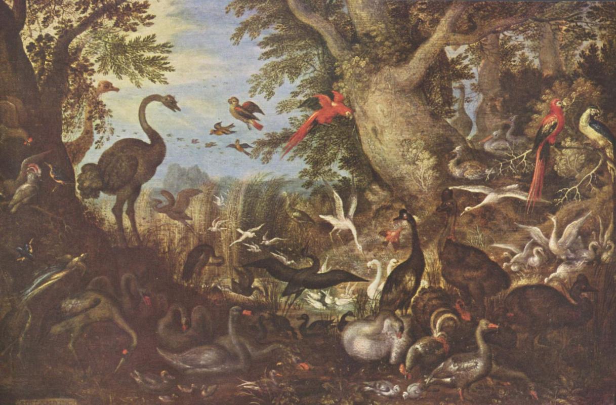 Рулант Савери. Птицы на фоне пейзажа