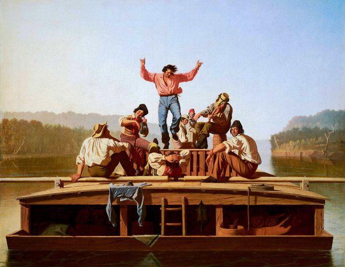 George Caleb Bingham. Cheerful boatmen