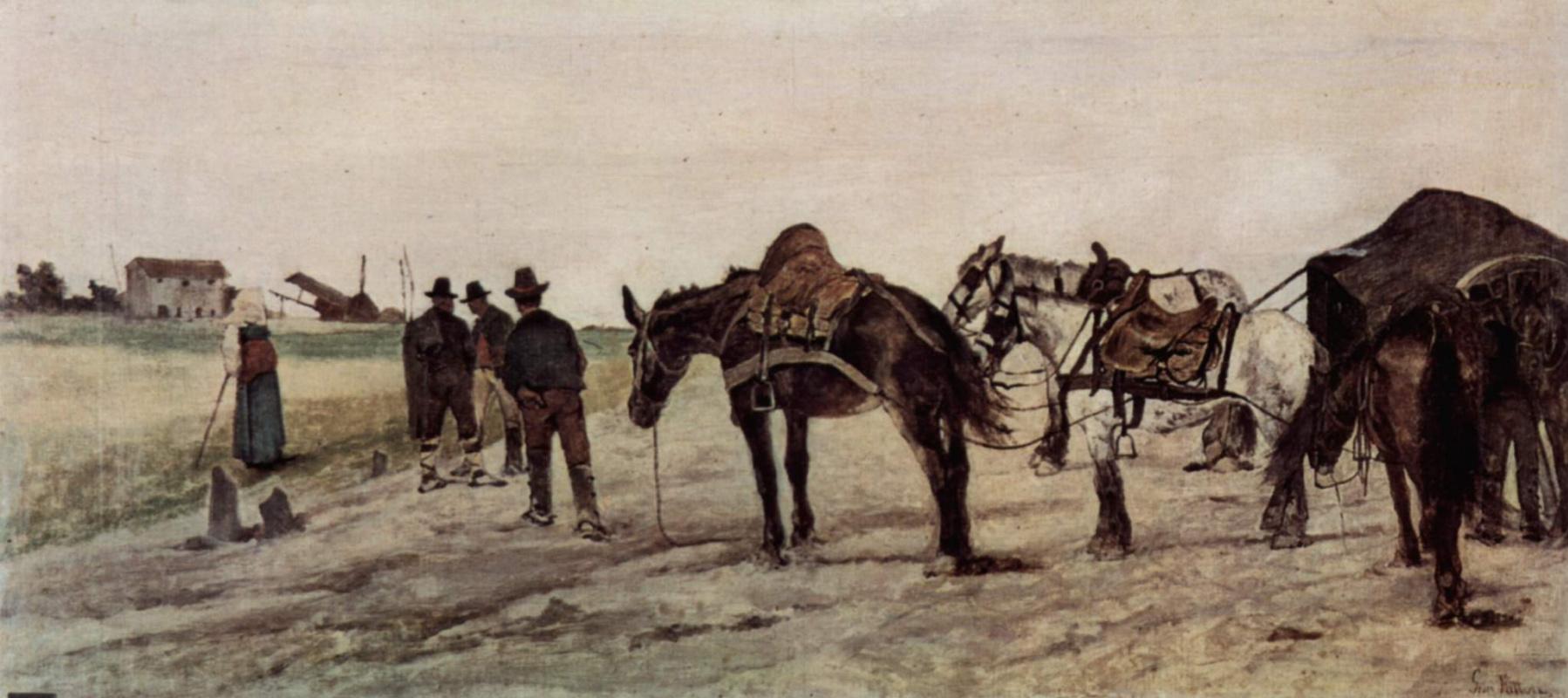 Джованни Фаттори. Римский пейзаж с крестьянами и лошадями