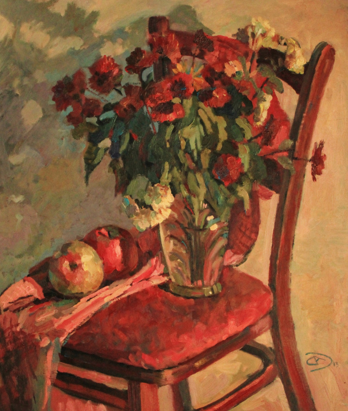 Александр Дмитриевич Свистунов. Цветы на стуле