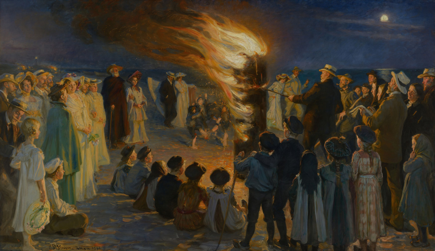 Peder Severin Kreyer. Summer bonfire on the beach in Skagen