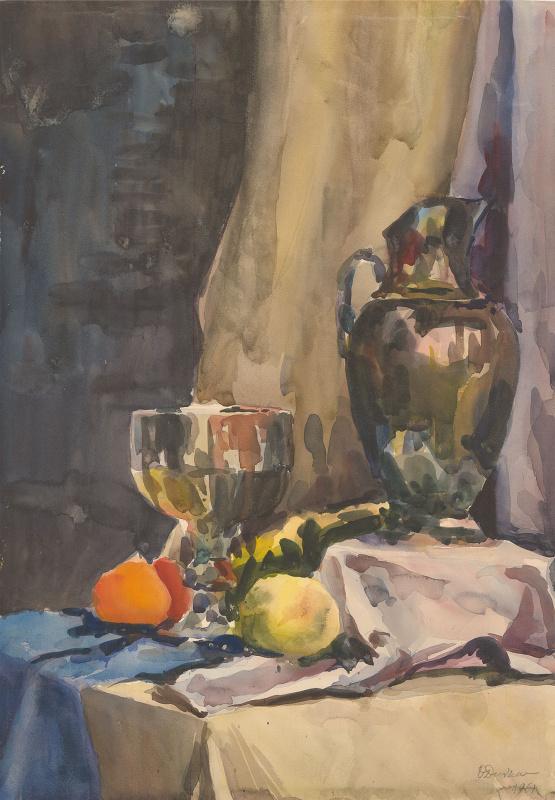 Ольга Константиновна Дейнеко. Натюрморт с кувшином и бокалом. 1961