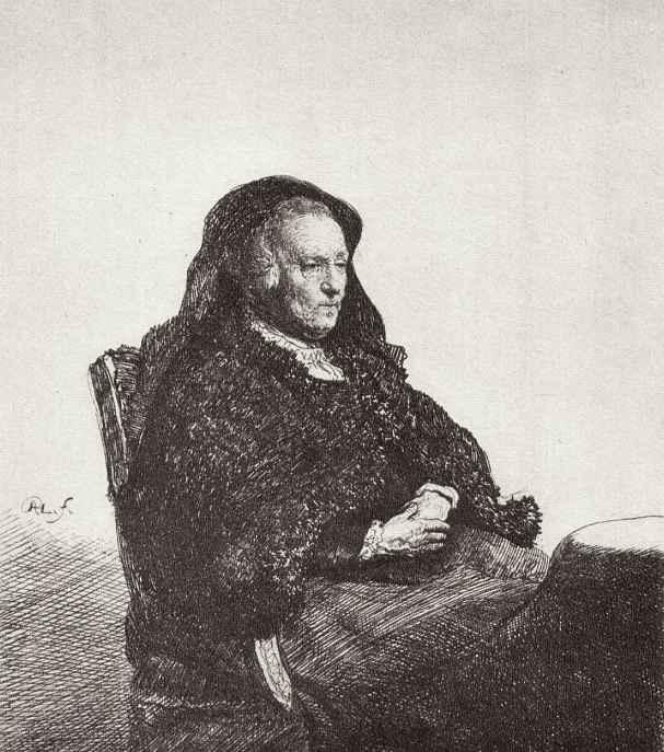 Рембрандт Ван Рейн. Портрет матери в черной накидке