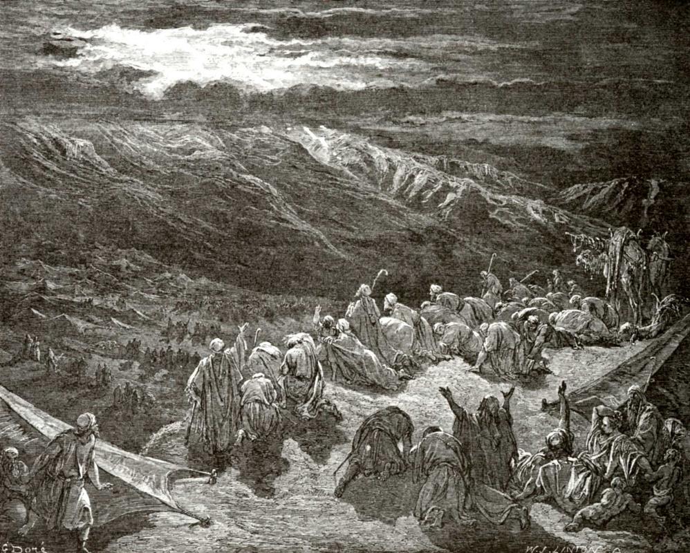 Поль Гюстав Доре. Иллюстрация к Библии: у горы Синай