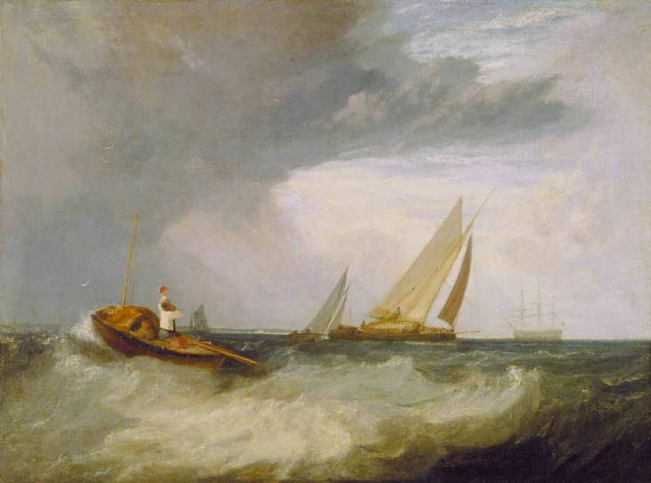 Joseph Mallord William Turner. Fisherman from Soberness hailing the ship from Whitstable