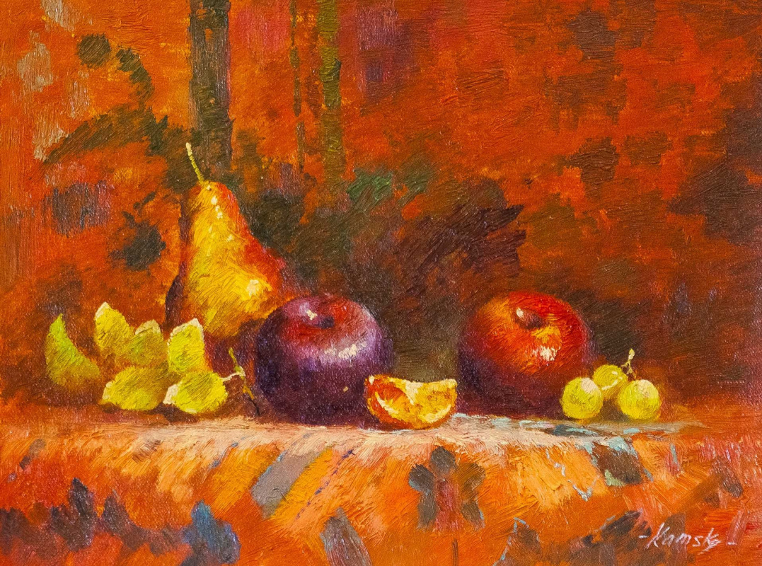Savely Kamsky. Fruit on the table. In orange tones