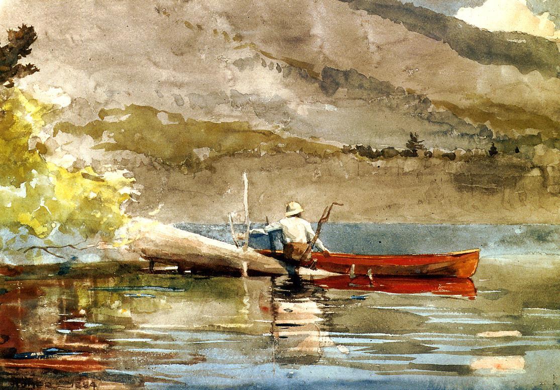 Winslow Homer. Red canoe