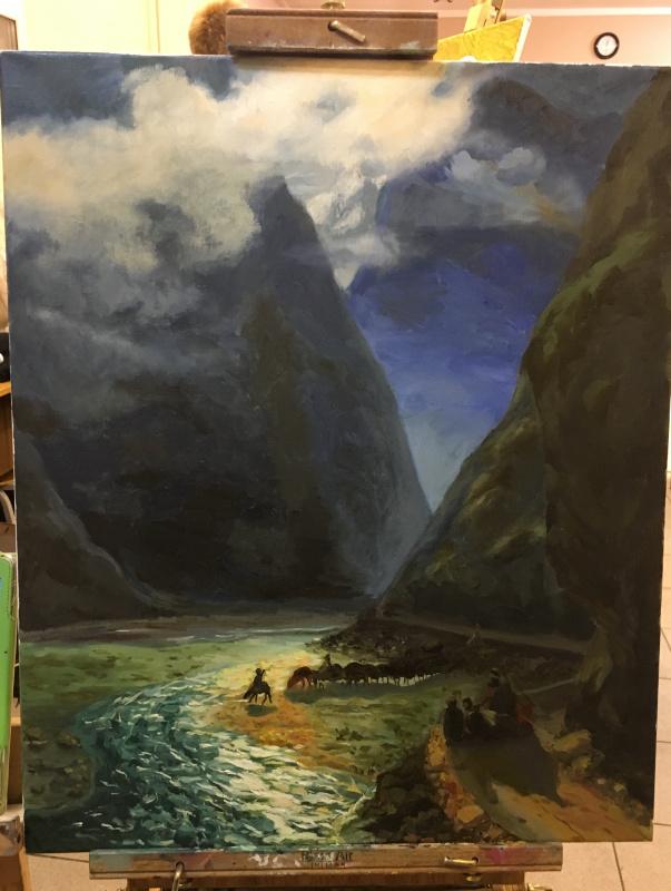 "Anna Grigorieva. Copy of Aivazovsky's painting ""Daryal Gorge"""