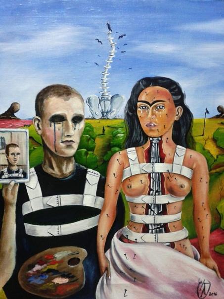 "Alexander Alekseevich Gapeev. ""Self-portrait with Frida Kahlo"""