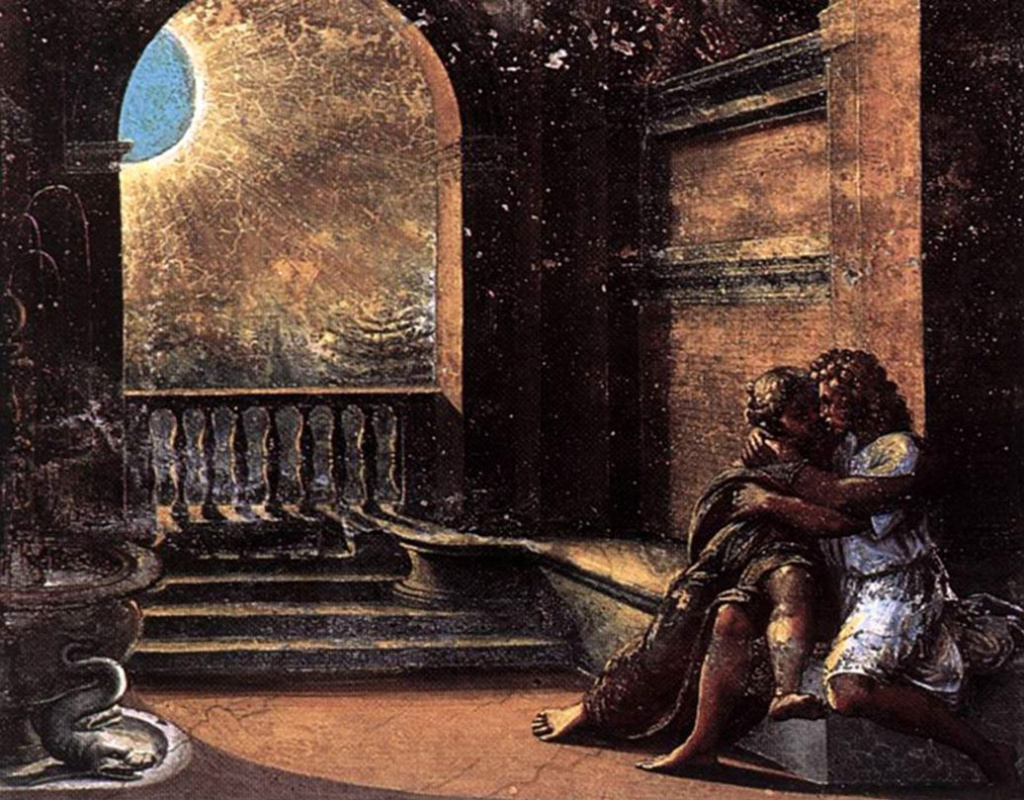 Рафаэль Санти. Исаак и Ребекка скрываются от Авимелеха. Фреска лоджии Рафаэля дворца понтифика в Ватикане