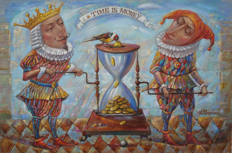 Alexander Nikolaevich Shabanov. TIME OF MONEY ... TIME IS MONEY oil on canvas ... 40 * 60