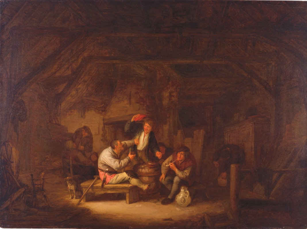 Adrian Jans van Ostade. Drinkers in the tavern
